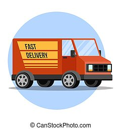 Red delivery truck from the transportation service