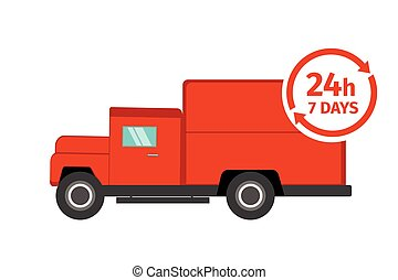 Red delivery truck on white background. Delivery around the clock, 24 hours 7 days a week. Delivery service concept. Vector illustration.