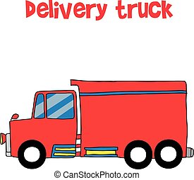 Red delivery truck vector art