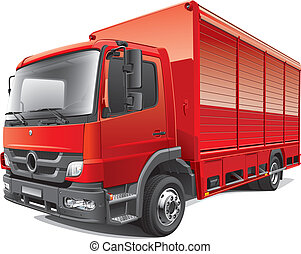 red delivery truck - Detail vector image of compact delivery...