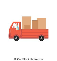 Red delivery truck with cardboard boxes, fast shipping concept vector Illustration on a white background