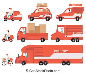 Red delivery vehicles set, express delivery concept vector Illustrations on a white background