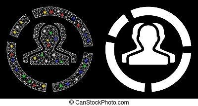 red, demography, malla, puntos, llamarada, icono, diagrama, ...