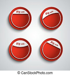 Red design label sticker with the inscription big sale