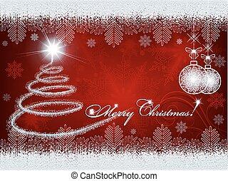 red design with Christmas tree and Christmas balls