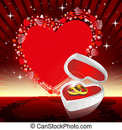 Red design with wedding rings