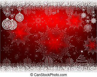Red design with white balls in retro style and snowflakes.