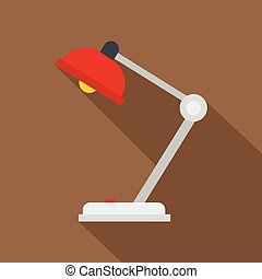 Red desk lamp icon, flat style