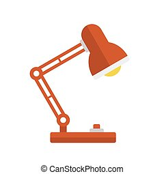 Red Desk Lamp Light Icon. Flat Style. Vector