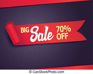Red detailed realistic curved paper sale ribbon banner