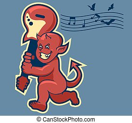 Vector illustration of red devil boy swinging guitar in retro color.