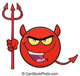 Red Devil Cartoon Emoji Face Character With Evil Expressions...