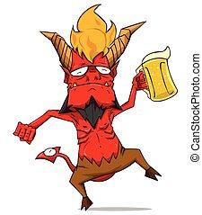Red Devil Character vector. Monster in Halloween night