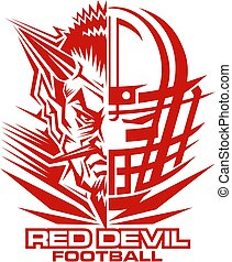 red devil football team design with half mascot and facemask...