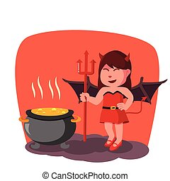 red devil girl boiling pot