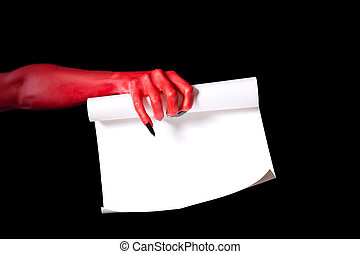 Red devil hand holding paper scroll