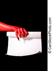Red devil hand with black nails holding paper scroll