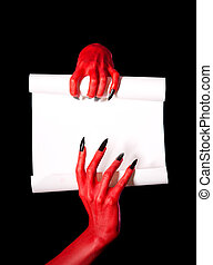 Red devil hands holding blank paper scroll