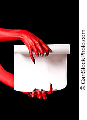 Red devil hands holding paper scroll