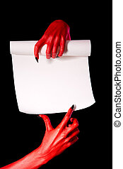 Red devil hands with paper scroll