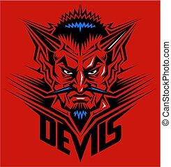 devil head mascot - red devil head mascot team design for...