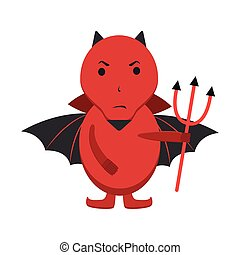 Red devil with black wings and pitchfork