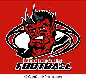 red devils football mascot inside ball team design for...