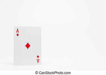 Red diamond Ace card on white background and selective focus
