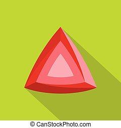 Red diamond icon, flat style.