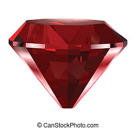 Red diamond isolated on white. Vector