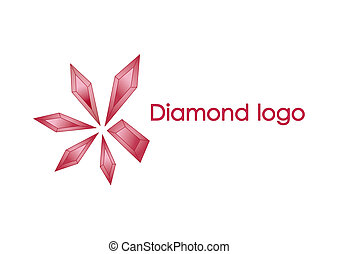 Red diamond logo design of illustration - 5 diamonds combine...