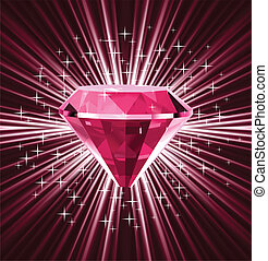 Red diamond on bright background. Vector