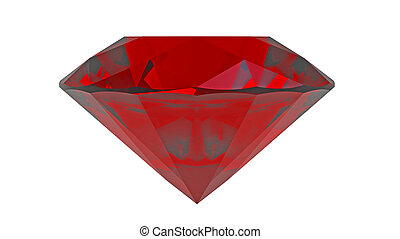 Red diamond ruby gemstone isolated on white