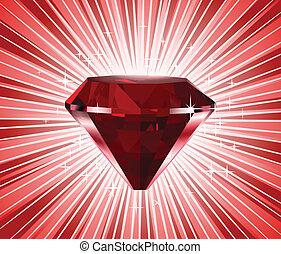 Red diamond. Vector shine background