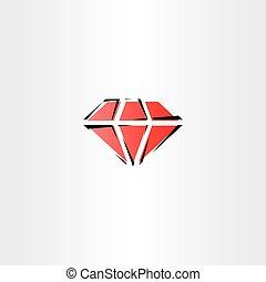 red diamond vector symbol icon