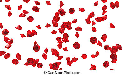 Red Diamonds isolated on white