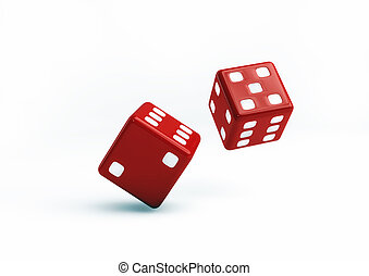 Red Dice 3D Illustration on white background