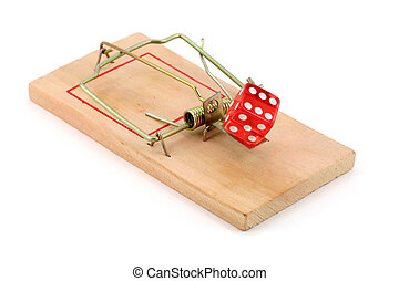red dice and Mousetrap, gambling trap, with white background