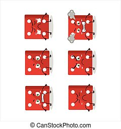 Red dice cartoon character with various angry expressions