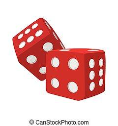 Red dice cartoon icon