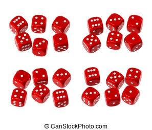 Red dice group - Red plastic-like dice with white dots