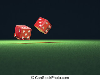Red Dice In Motion - Two red dice thrown on green table....