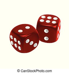 Red dice isolated on white background