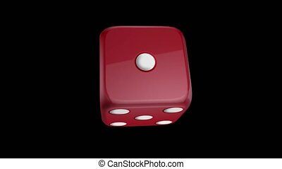 Red dice on black background - Red dice spinning on a black...