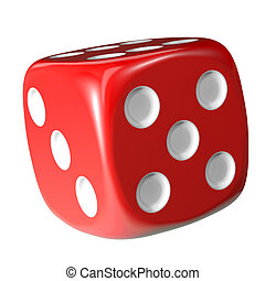 Red dice on white background.