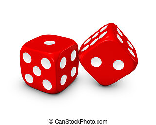 red dice on white background - red dice isolated on white...