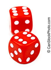Red Dice over a plain white background.