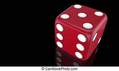 Red dice roll over black glossy reflective background