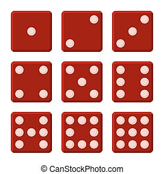 Red Dice Set on White Background. Vector