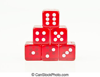 red dice stacked in order